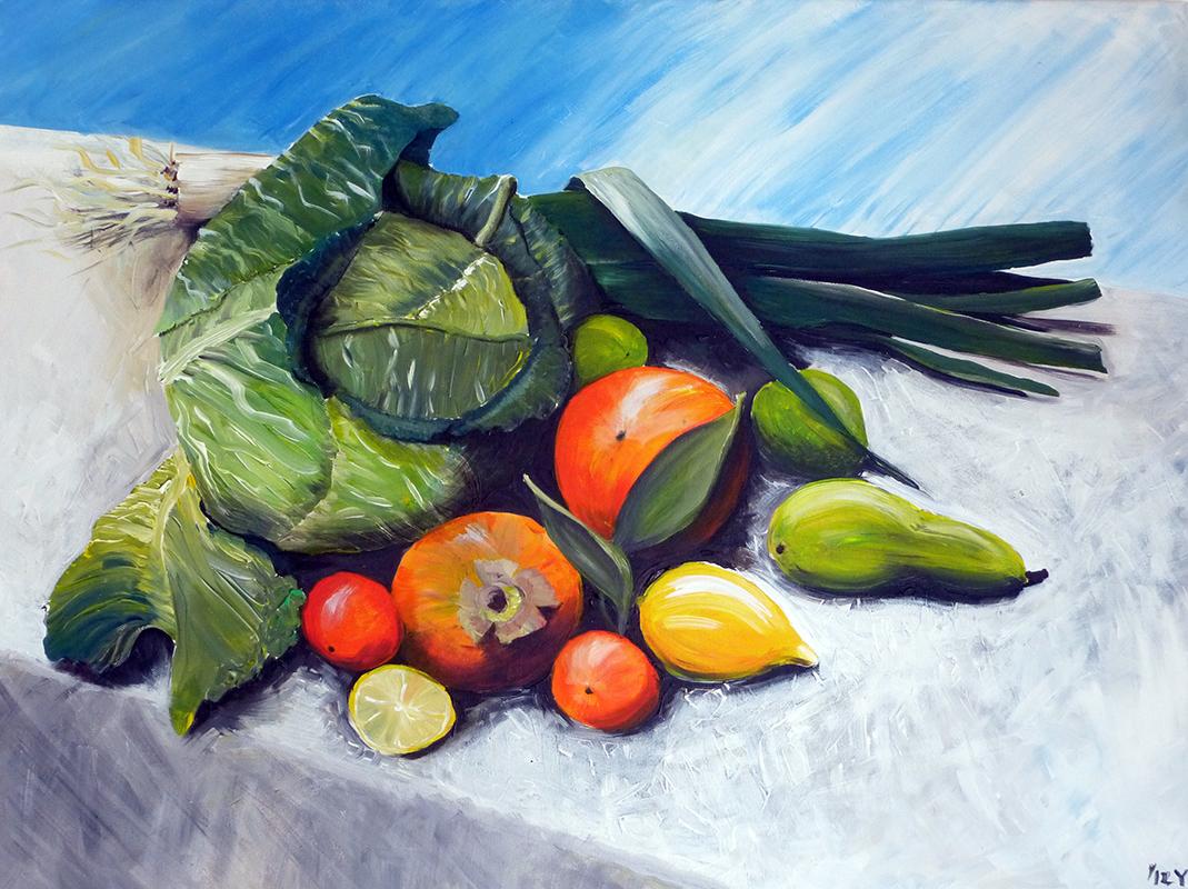 Stillleben mit Gemüse und Obst   Yvonne Scherzer